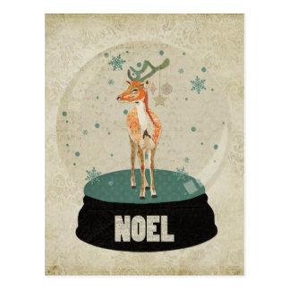 Postal ambarina de Noel Snowglobe del dólar