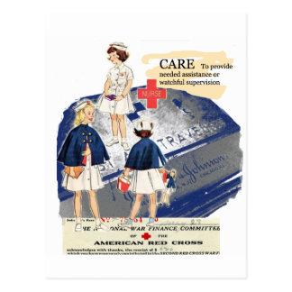 Postal americana del saludo de la Cruz Roja del vi