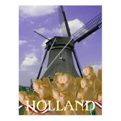Postal anaranjada de Holanda del arte del molino d