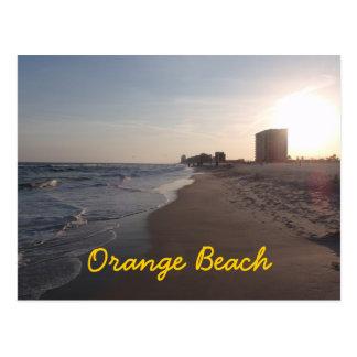 Postal anaranjada de la playa