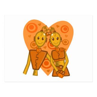 Postal anaranjada de los pares del robot