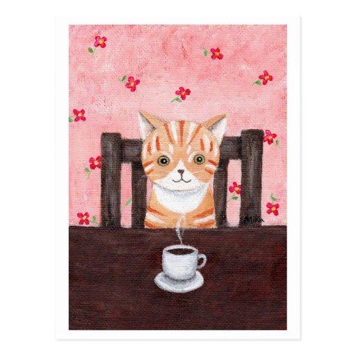 Postal anaranjada del ejemplo del café del gato de