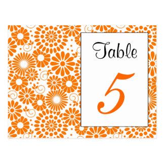 Postal anaranjada floral del número de la tabla de