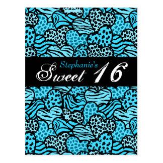 Postal animal azul del dulce 16 de los corazones d