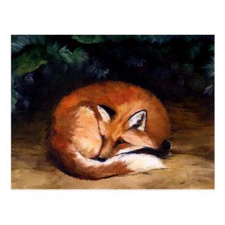 Postal animal roja soñolienta del arte del Fox