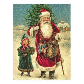 Postal antigua del árbol de Santa del Victorian