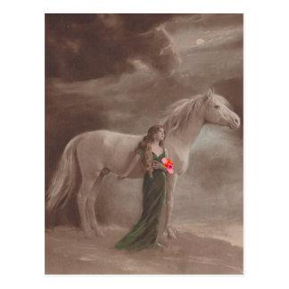 Postal antigua del caballo del sueño de la noche