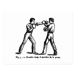 Postal antigua del ejemplo del boxeo