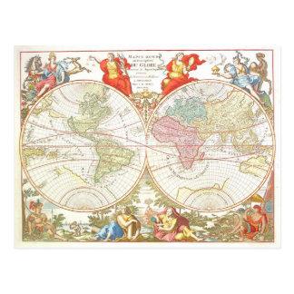 Postal antigua del mapa del mundo c1694