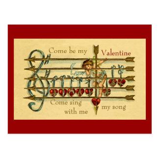 Postal antigua del Musical del el día de San Valen