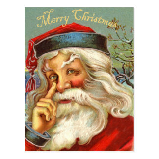 Postal antigua del navidad de Santa del vintage