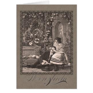 Postal antigua romántica divertida del bigote tarjeta de felicitación