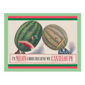 POSTAL ANTROPOMORFA del retruécano de los melones