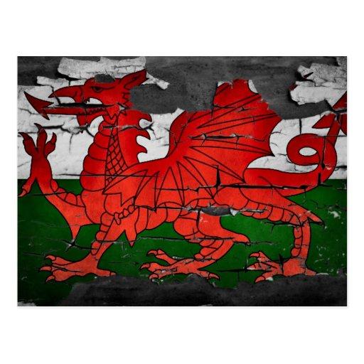 postal apenada de la bandera de País de Gales