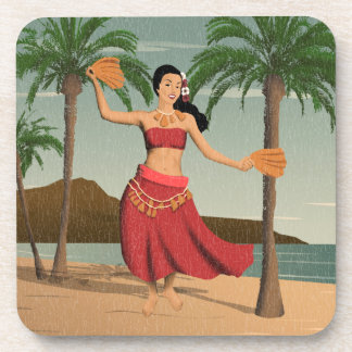 Postal apenada hawaiana del chica de Hula del Posavasos De Bebidas