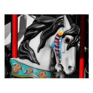 Postal ardiente del blanco del negro del caballo d