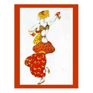 Postal-Arte de la Moda-Bakst 4 Tarjetas Postales