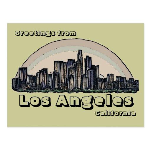 Postal artística del horizonte de Los Ángeles Cali