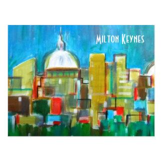 Postal artística del horizonte de Milton Keynes