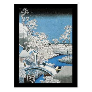 Postal asiática del puente y del paisaje de la nie