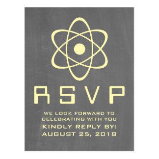 Postal atómica amarilla de RSVP de la pizarra