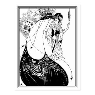 Postal:  Aubrey Beardsley - la falda del pavo real Tarjeta Postal