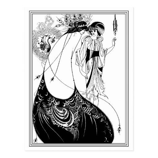 Postal:  Aubrey Beardsley - la falda del pavo real