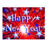 """Postal azul blanca roja """"de la Feliz Año Nuevo"""" de"""