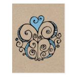 Postal azul de Kraft del adorno del corazón