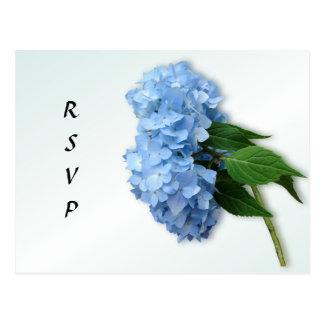 Postal azul de la contestación del boda del