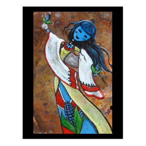 postal azul de la doncella del maíz