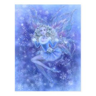 Postal azul de la hada del navidad
