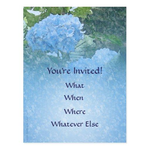 Postal azul de la invitación del Hydrangea