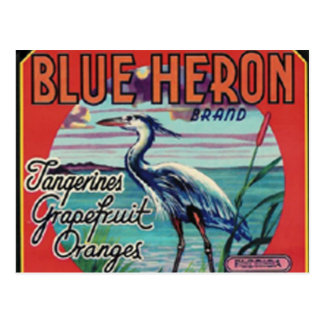 postal azul de la marca de la garza