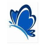 Postal azul de la mariposa
