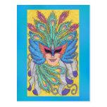 Postal azul de la máscara del carnaval del ala