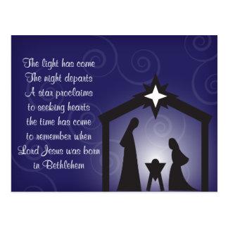 Postal azul de la natividad del navidad de la tard