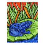Postal azul de la rana del veneno