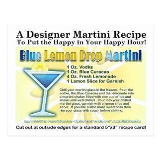 Postal azul de la receta de Martini de la gota de