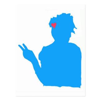 Postal azul de la señora