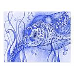 Postal azul de la tortuga de mar