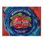 postal azul de las manzanas del sello