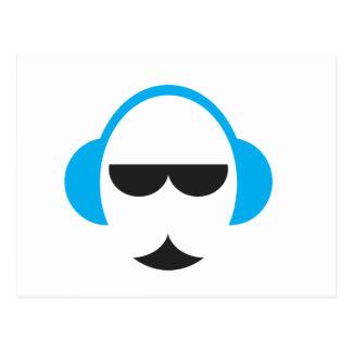 Postal azul de los auriculares