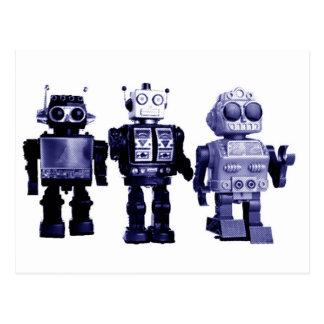 postal azul de los robots