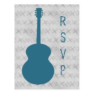Postal azul de RSVP del Grunge de la guitarra
