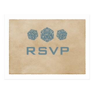 Postal azul de RSVP del videojugador de los dados