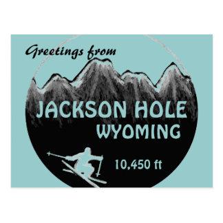 Postal azul del arte del esquí de Jackson Hole Wyo