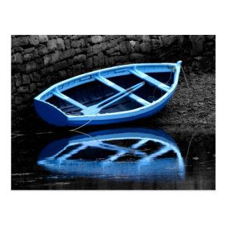 Postal azul del barco de Rowing