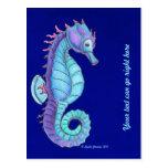 Postal azul del caballo de mar