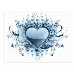 Postal azul del corazón de Emo